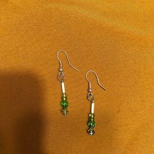 Green/silver beaded earrings